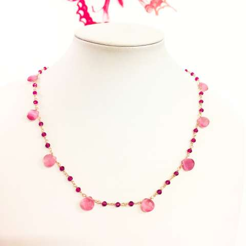 Collana rosario argento 925 oro rosa Granato e Pietre di Luna rosa goccia