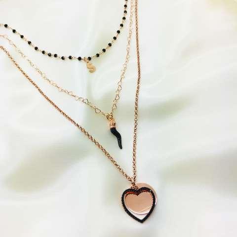Collana tre fili argento 925 oro rosa Ginevra