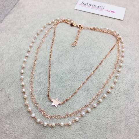 Collana tre fili argento 925 oro rosa rosario perle e stelle