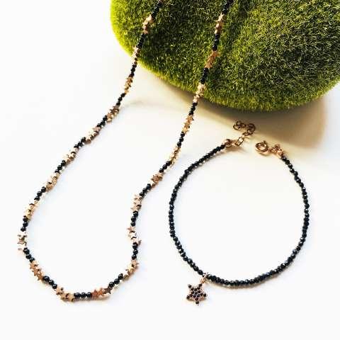 Combo bracciale + collana argento 925 oro rosa Spinelli neri