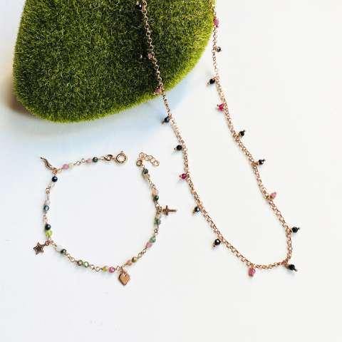 Combo bracciale Veronica  + collana argento 925 oro rosa Emma