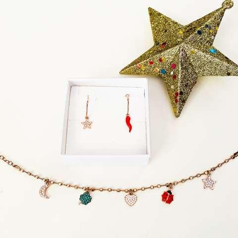 Combo orecchini cerchio + bracciale argento 925 oro rosa Felicità