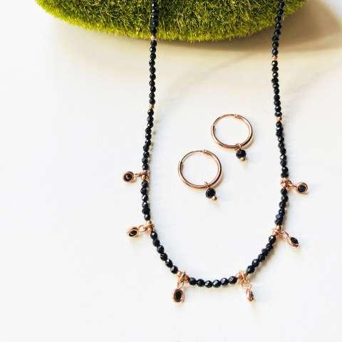 Combo orecchini cerchio  + collana argento 925 oro rosa micro Spinelli