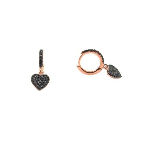 Mini cerchi zirconati argento 925 oro rosa cuore Zirconi neri
