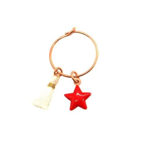 Mono-orecchino a cerchio 1,4cm argento 925 oro rosa Stella rossa + nappina