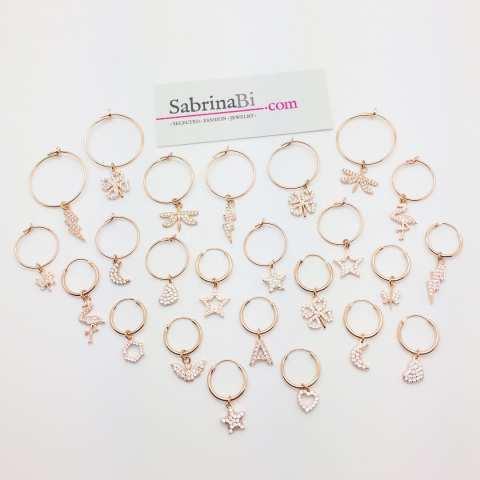 Mono-orecchino a cerchio 1cm argento 925 oro rosa Fenicottero Zirconi