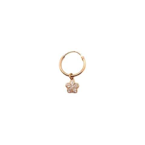 Mono-orecchino a cerchio 1cm argento 925 oro rosa Fiore Zirconi