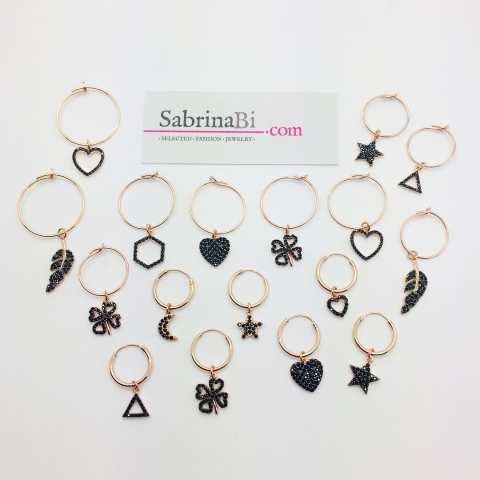 Mono-orecchino a cerchio 1cm argento 925 oro rosa Quadrifoglio Zirconi neri