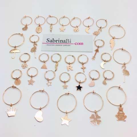 Mono-orecchino a cerchio 2cm argento 925 oro rosa Fenicottero