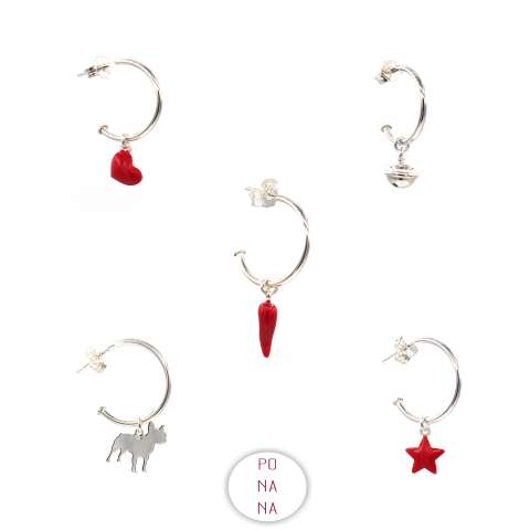 Mono-orecchino a cerchio argento 925 cornetto rosso