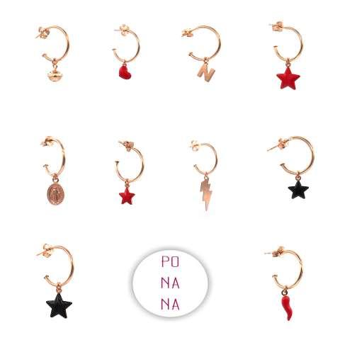 Mono-orecchino a cerchio argento 925 oro rosa Madonnina