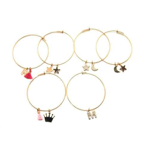 Mono-orecchino a cerchio grande argento 925 oro rosa Luna + Stella Zirconi neri
