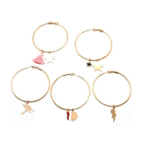 Mono-orecchino a cerchio maxi argento 925 oro rosa Stella grande e nappina