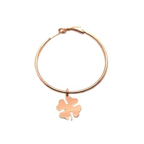Mono-orecchino a cerchio medio argento 925 oro rosa Quadrifoglio
