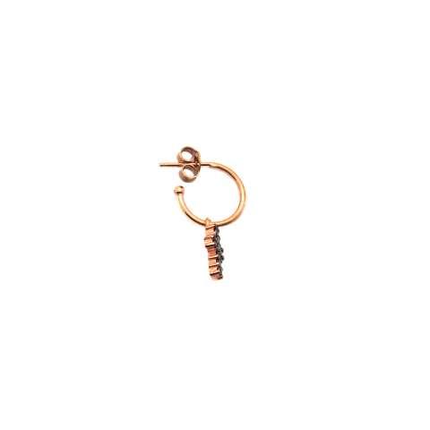 Mono orecchino cerchio 1cm argento 925 oro rosa Croce Zirconi neri
