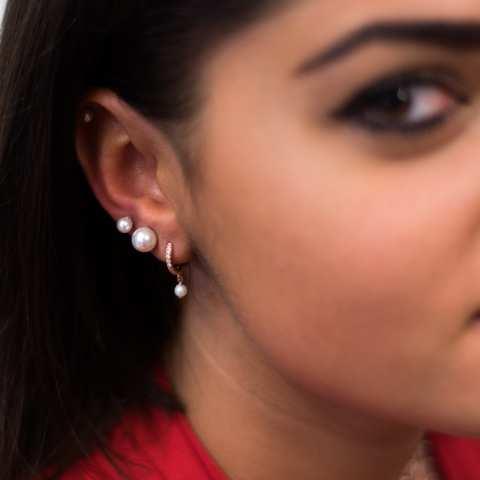 Mono orecchino cerchio 1cm zirconato argento 925 oro rosa Perla