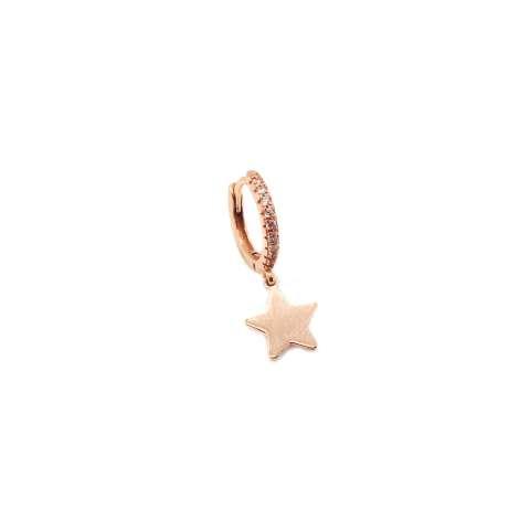 Mono orecchino cerchio 1cm zirconato argento 925 oro rosa stella oro rosa