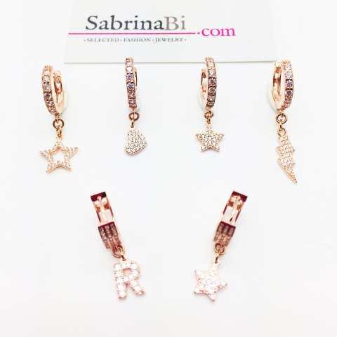 Mono-orecchino cerchio 1cm zirconato argento 925 oro rosa Stella Zirconi