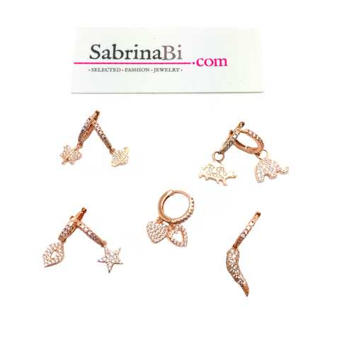 Zirconia rose gold sterling silver mono hoop and charm