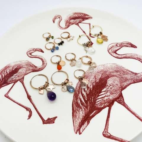Mono orecchino cerchio argento 925 oro rosa Ametista