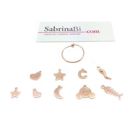 Mono orecchino cerchio filo 1,5 cm. argento 925 oro rosa + charm oro rosa
