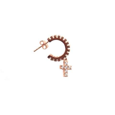 Mono orecchino cerchio zirconato argento 925 oro rosa croce Zirconi bianchi