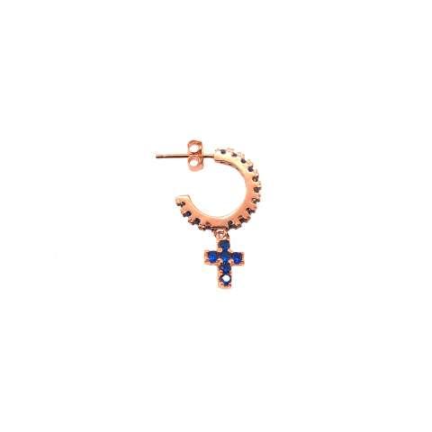 Mono orecchino cerchio zirconato argento 925 oro rosa croce Zirconi blu