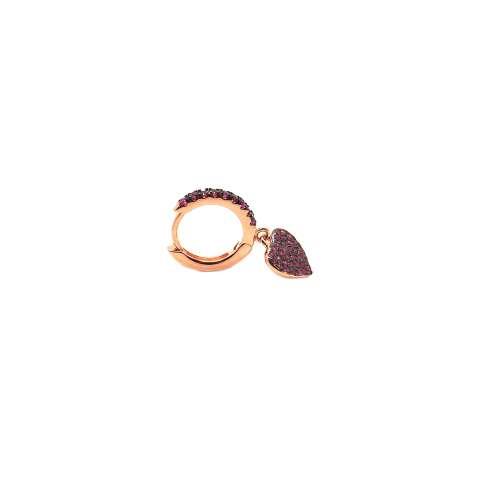 Mono orecchino cerchio zirconato argento 925 oro rosa cuore Zirconi rubino