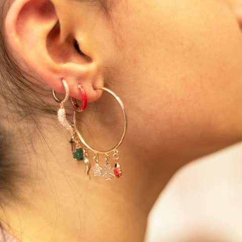 Mono orecchino mezzo cerchio argento 925 oro rosa Lucky
