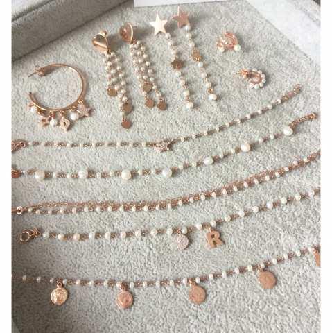 Mono orecchino mezzo cerchio argento 925 oro rosa Pearls