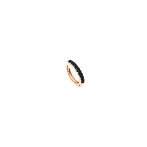 Mono orecchino mini cerchio zirconato nero argento 925 oro rosa