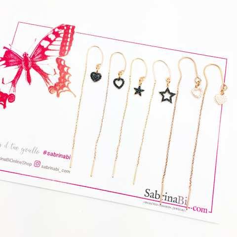 Mono orecchino thread a filo argento 925 oro rosa cuore vuoto Zirconi