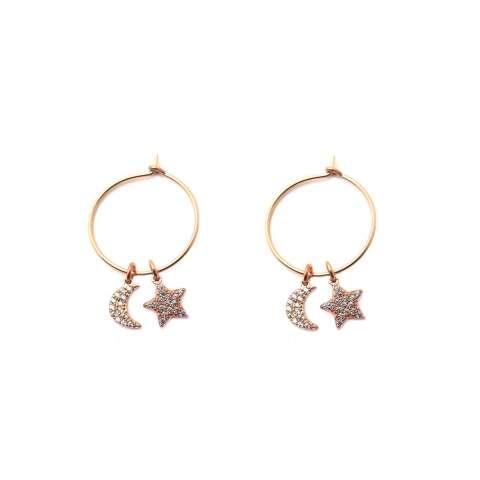 Orecchini a cerchio argento 925 oro rosa Luna + Stella Zirconi