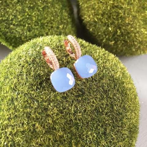 Orecchini a cerchio argento 925 oro rosa Opale azzurro Nudo