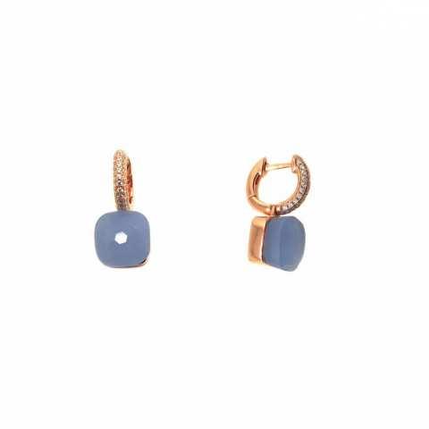 Orecchini a cerchio argento 925 oro rosa Opale azzurro