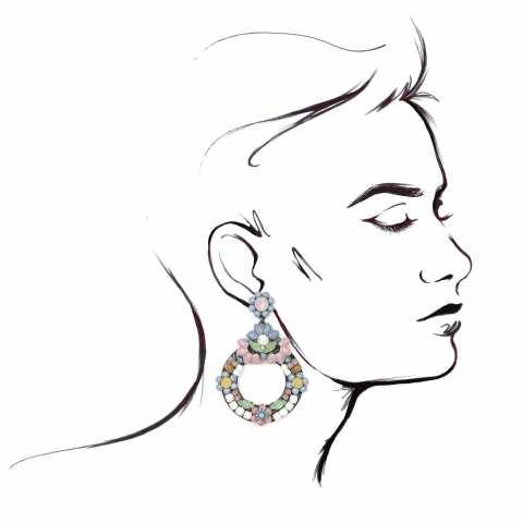 Orecchini a cerchio con perle multicolor