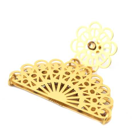 Orecchini a cerchio filigrana oro ventaglio