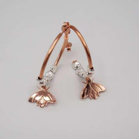 Orecchini a cerchio medio argento 925 oro rosa Ape e Pepite