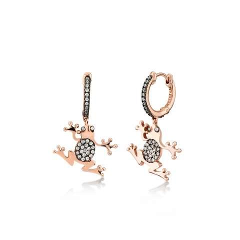 Orecchini a cerchio Principe Ranocchio argento 925 oro rosa e brillanti