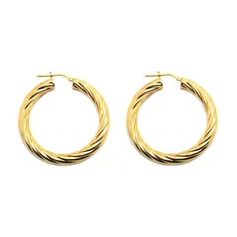 Orecchini a cerchio torchon argento 925 placcato oro