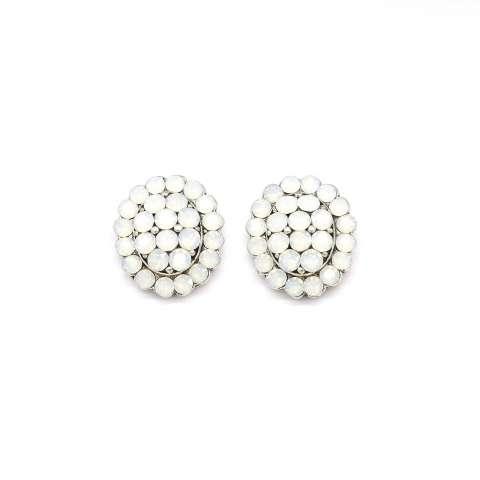 Orecchini a clip ovali cristalli opali bianchi