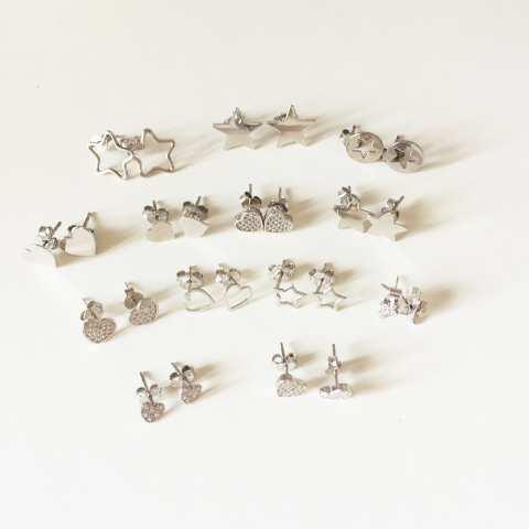 Orecchini a lobo argento 925 micro cuore Zirconi