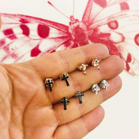 Orecchini a lobo argento 925 oro rosa micro Croce Zirconi neri