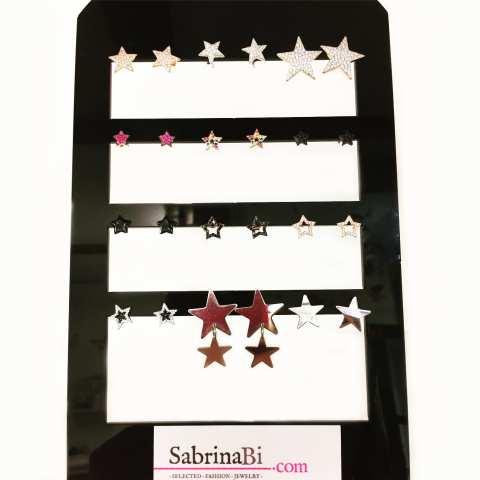 Orecchini a lobo argento 925 oro rosa stella vuota piccola Zirconi neri