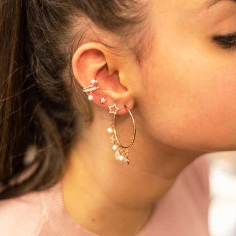 Orecchini a lobo argento 925 oro rosa stella vuota piccola Zirconi