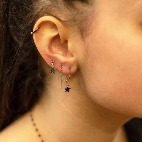 Orecchini argento 925 oro rosa stella Zirconi neri pendente