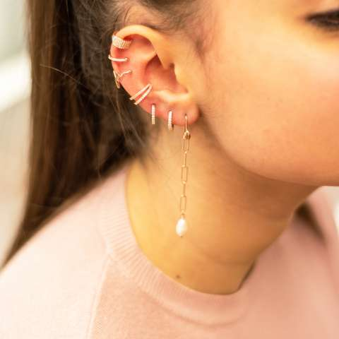 Orecchini catena graffetta argento 925 oro rosa e perla