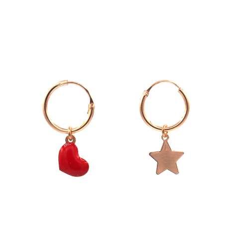 Orecchini cerchio argento 925 oro rosa cuore smalto rosso e stella oro rosa