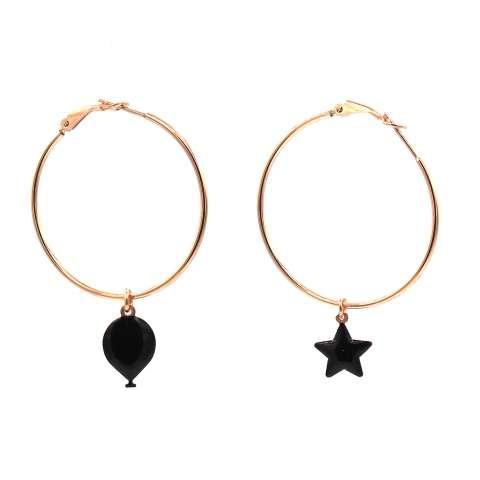 Orecchini cerchio argento 925 oro rosa stella e palloncino smalto nero
