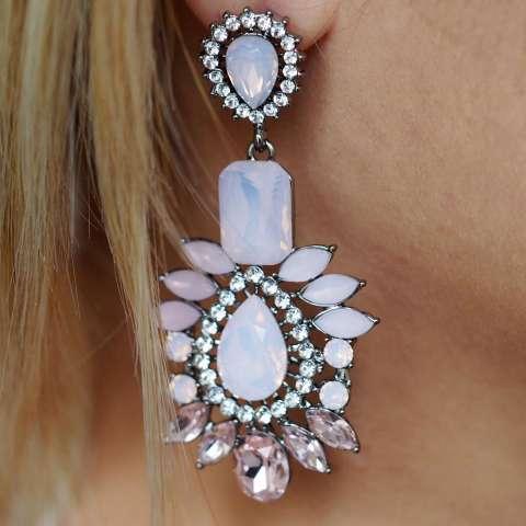 Orecchini Chandelier a goccia cristalli rosa